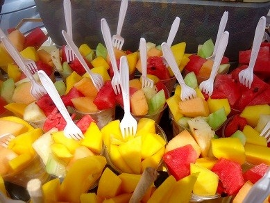 Fruit cups sold on the street.