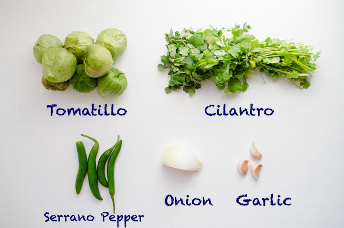 Ingredients for roasted tomatillo salsa.