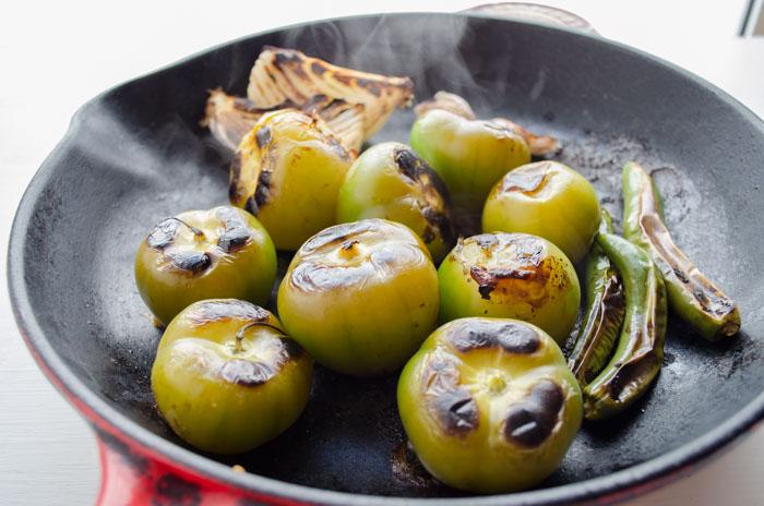 Tomatillos roasting