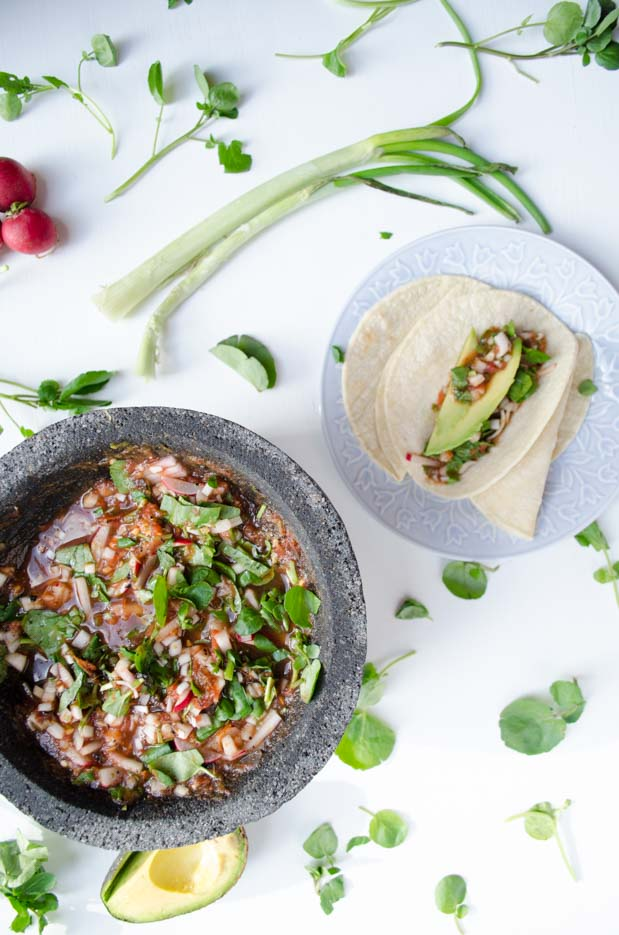 This vegan recipe for watercress and radish salsa is spicy, crunchy, fresh and pairs perfectly with avocado slices and home-made tortillas.