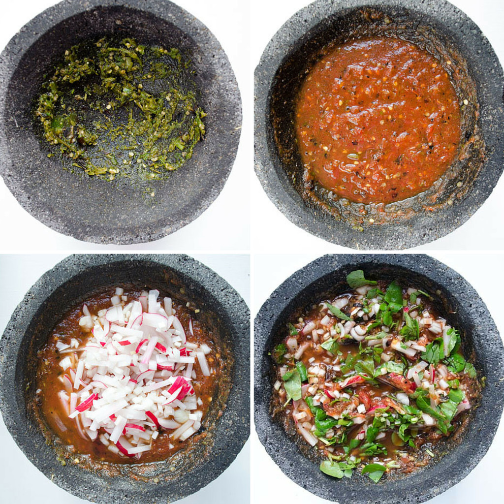 Four molcajete bowls with different stages of salsa preperation