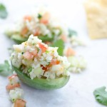 Cauliflower ceviche stuffed into an avocado half