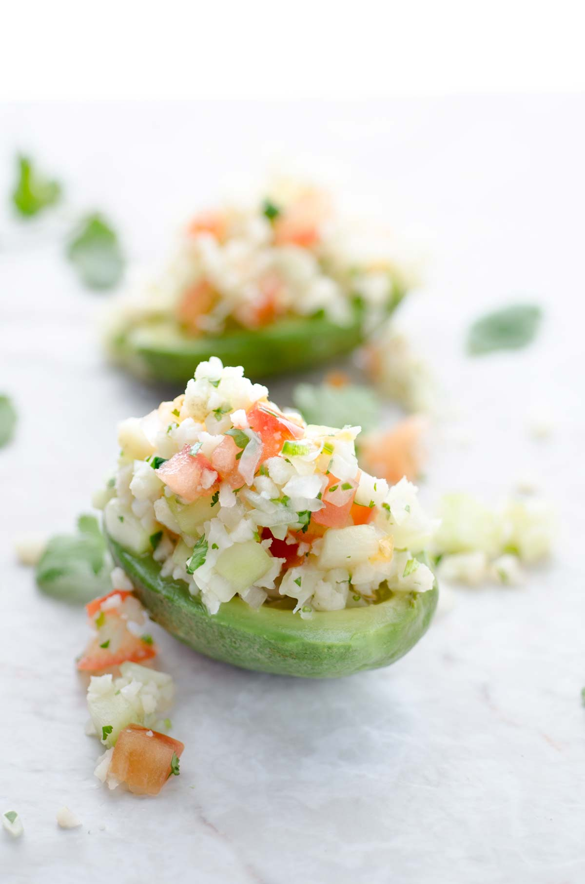 This recipe for cauliflower ceviche is tangy, spicy, and refreshing. It is an easy to male appetizer. Serve with chips and avocado.