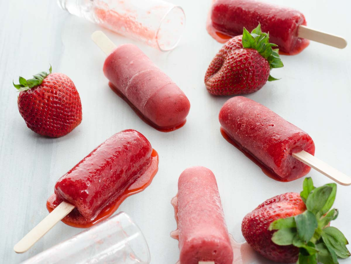 These strawberry paletas are 100% vegan and gluten-free. They are just the right amount of sweet and are bursting with chunks of strawberries.