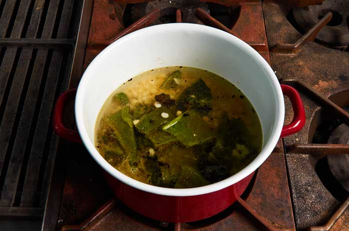 Here is a vegan variation on crema de poblano, roasted chile poblano soup served throughout Mexico. Poblano chiles are large, and deep green