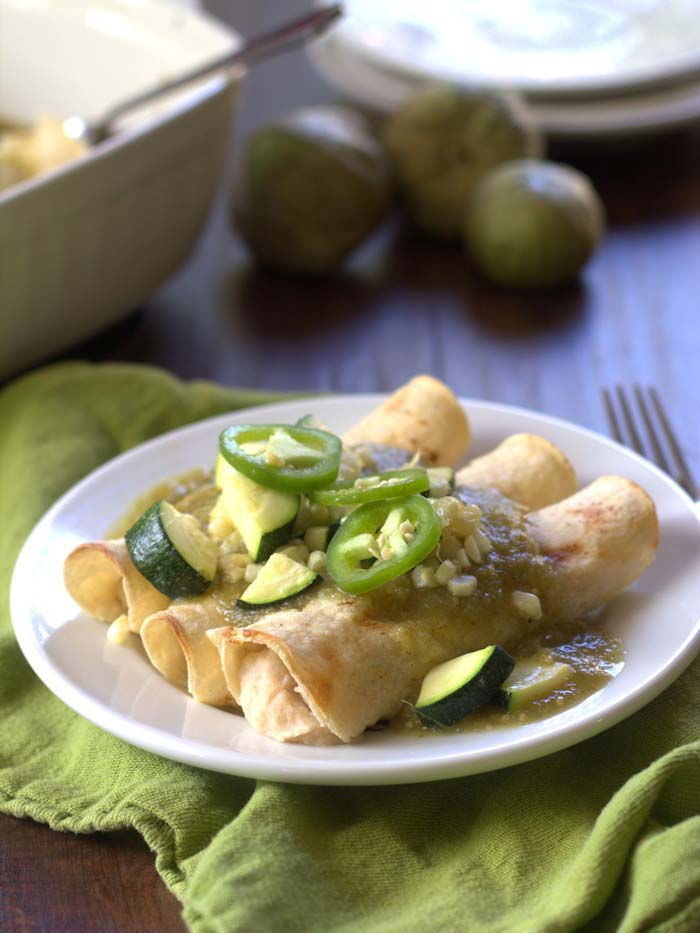 18 delicious vegan enchiladas filled with veggies, beans, homemade salsa, and all kinds of toppings. There is an option for everyone!