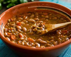 This Vegan Frijoles Charros recipe results in a satisfying and warm bowl of tender smoky beans. Perfect for a cold fall day.