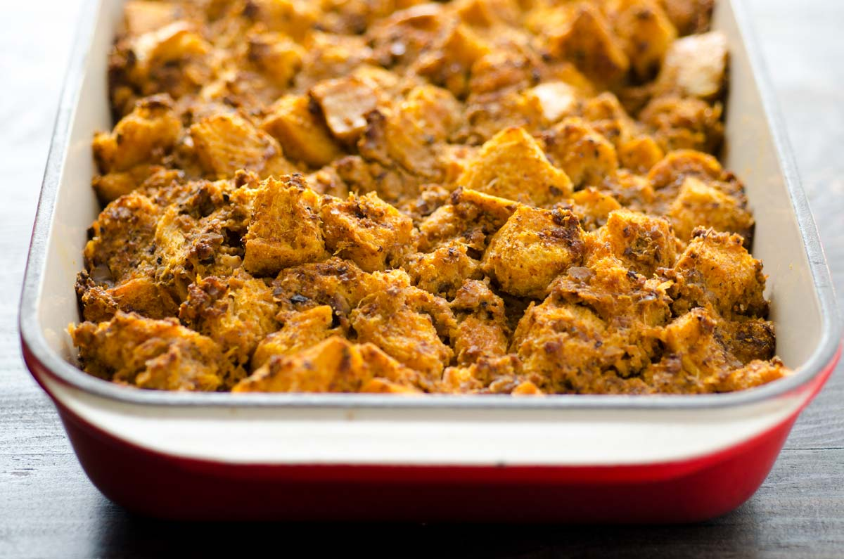 This vegan chorizo chestnut stuffing is a great option for your vegan Thanksgiving this year. It is spicy, savory, and delicious.