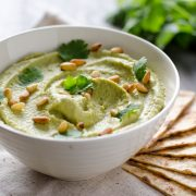 Roasted Poblano Hummus, the smoky flavor of the poblano pepper really pulls through in this smooth hummus, eat with corn or pita chips.