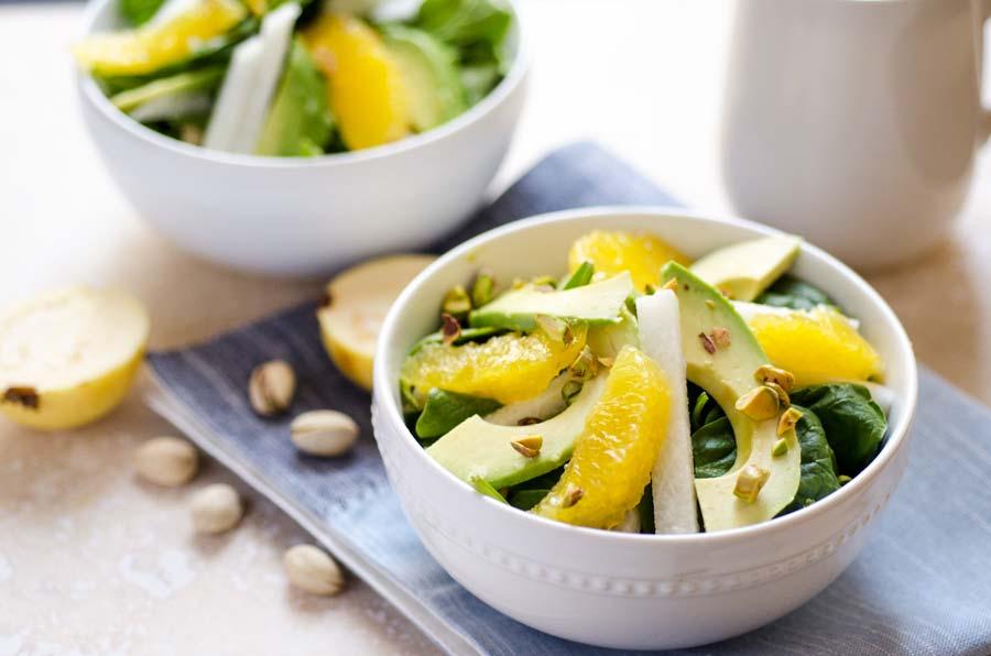 Spinach Avocado Jicama Salad With Guava Dressing No Oil