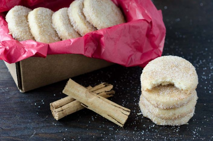 These vegan hojarascas, also known as polvorones, are scented with ground anise and orange zest, and dusted with cinnamon sugar. I
