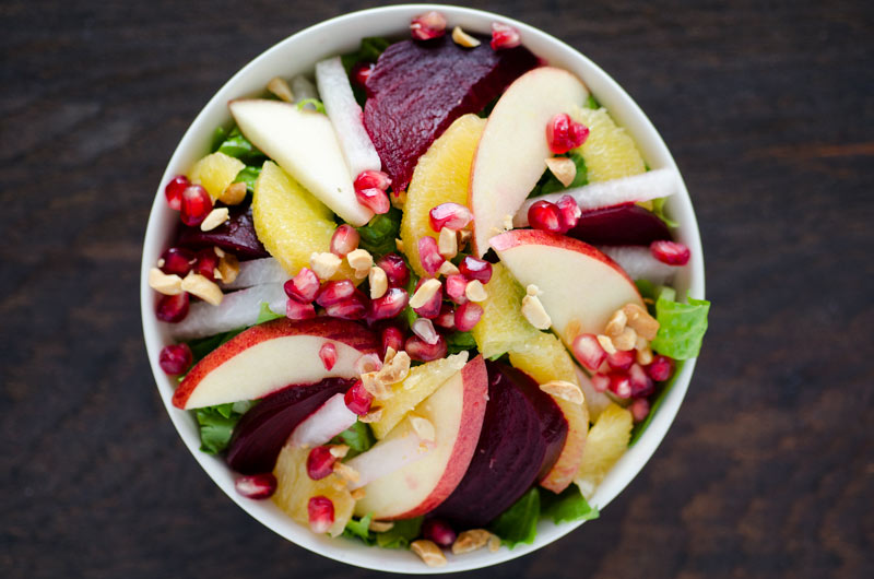 beet, apple and pomegranate salad