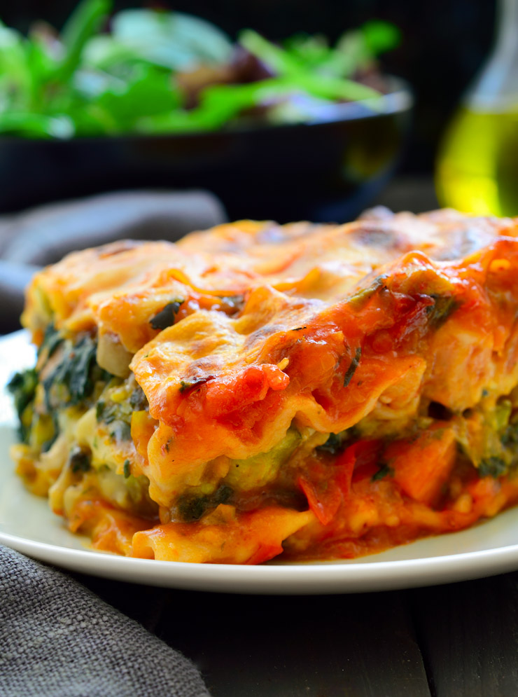 vegan lasagna slice on a white plate