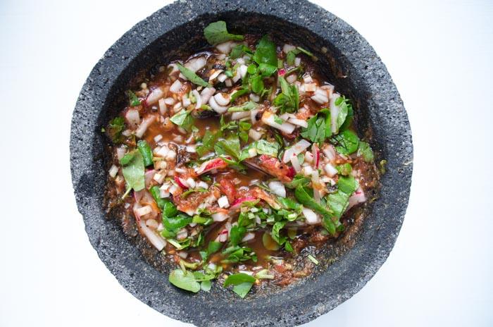 molcajete with salsa