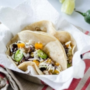 butternut squash and mushroom tacos, jalapeño and lime