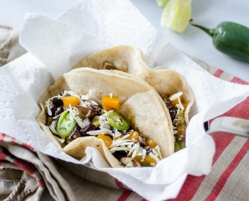 butternut squash and mushroom tacos, jalapeño and lime