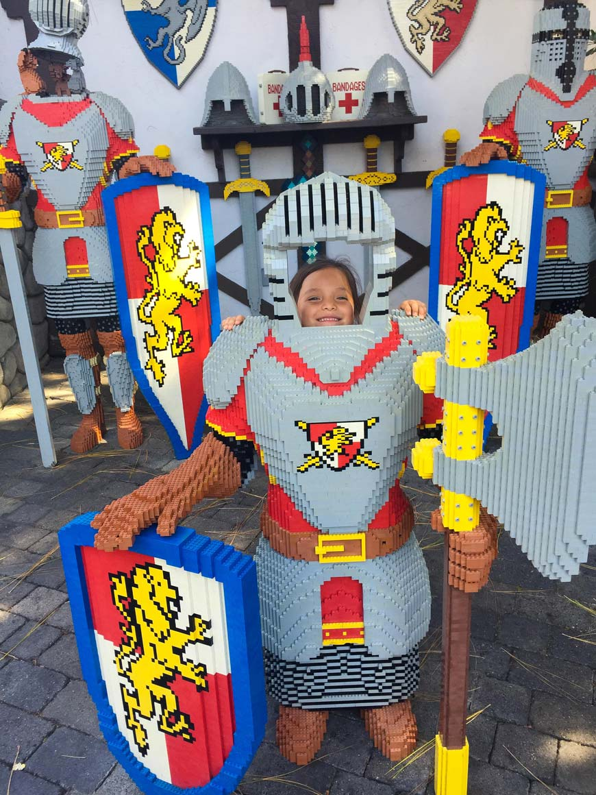 Child inside Legoland California lego armor