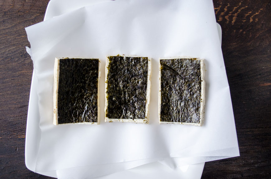 Tofu lined with nori sheets for vegan fish tacos