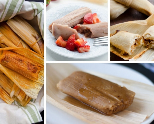 A collage of different tamales.
