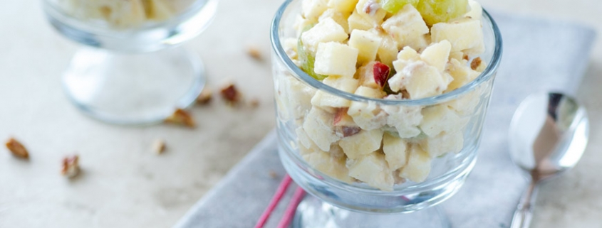 Mexican Christmas Apple Salad in a glass cup