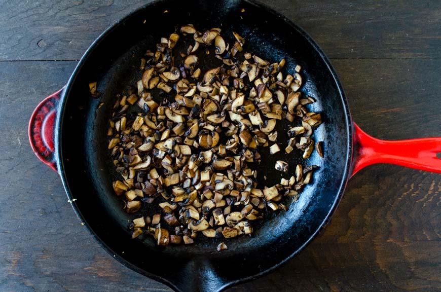 Sauted mushroom in a large saute pan