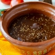 Clay pot filled with mole poblano