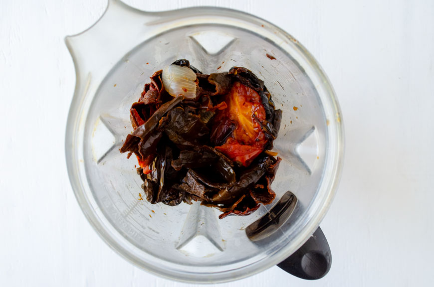 Soaked chiles in blender for mole poblano recipe