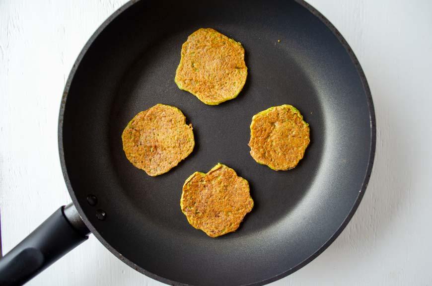 vegan tortitas de camaron cooking on a saute pan