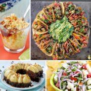 vegan nachos, vegan taco pizza, margarita, tres leches and crunch wrap for cinco de mayo party food ideas