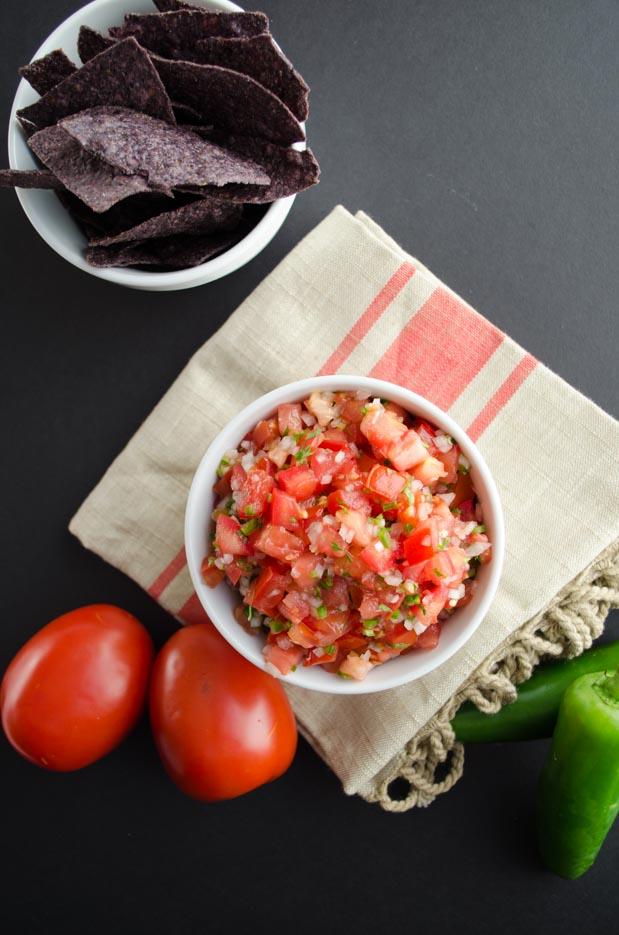 pico de gallo salsa in a white bowl for cinco de mayo party food ideas