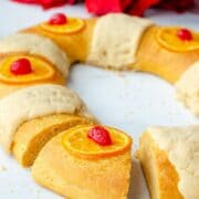 a piece cut out of the rosca de reyes