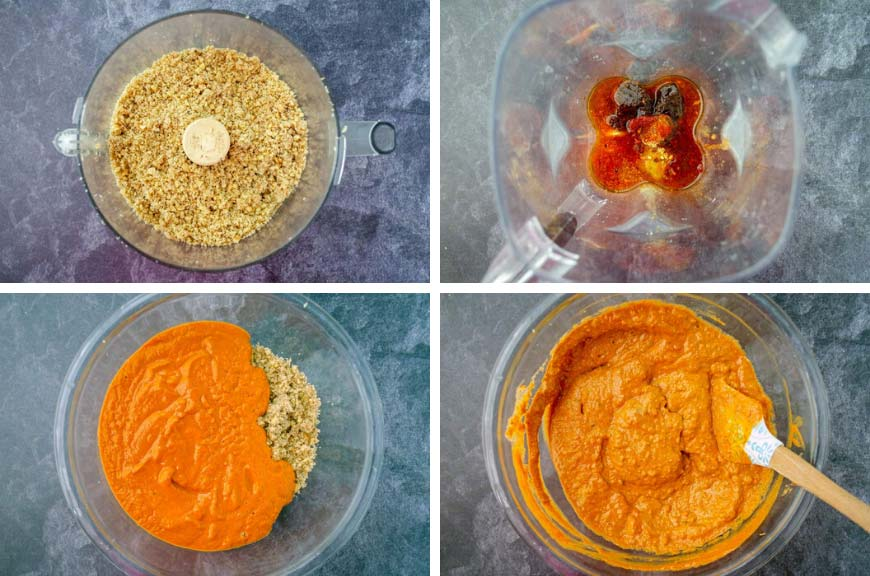 4 pictures, picture to the top left has ground walnuts in a food processor, top right ingredients in blender for marinade, bottom left redish pureed marinade over walnuts in a glass bowl, bottom left everything mixed together in glass bowl with spatula