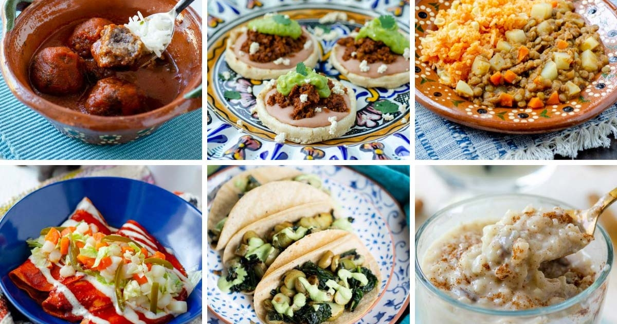 6 image grid albondigas en caldillo, lentil picadillo, vegan arroz con leche, potato and kale tacos, potato enchiladas, and vegan chorizo sopes