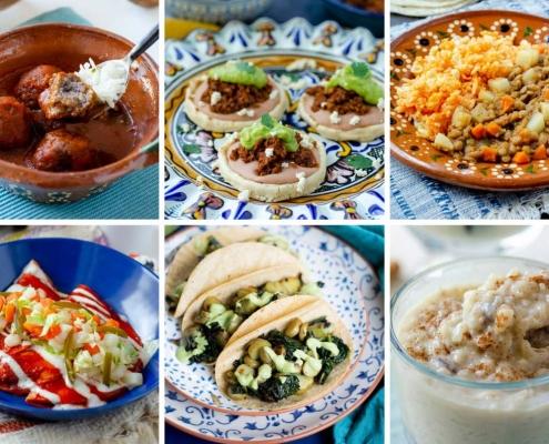 6 image grid albondigas en caldillo, lentil picadillo, vegan arroz con leche, potato and kale tacos, potato enchiladas, and vegan chorizo sopes
