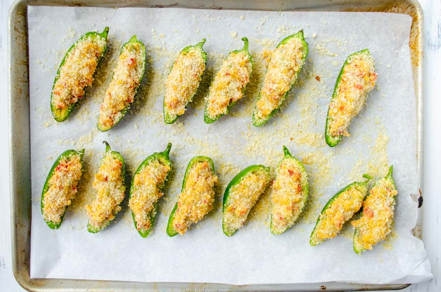 stuffed jalapenos topped with breadcrumbs