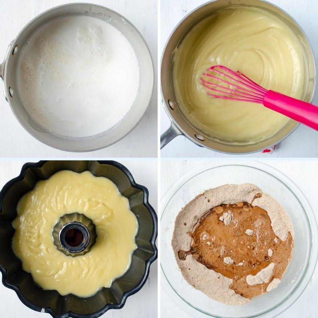 pot of milk, mixture for flan, flan mixture in cake pan, chocolate cake mix