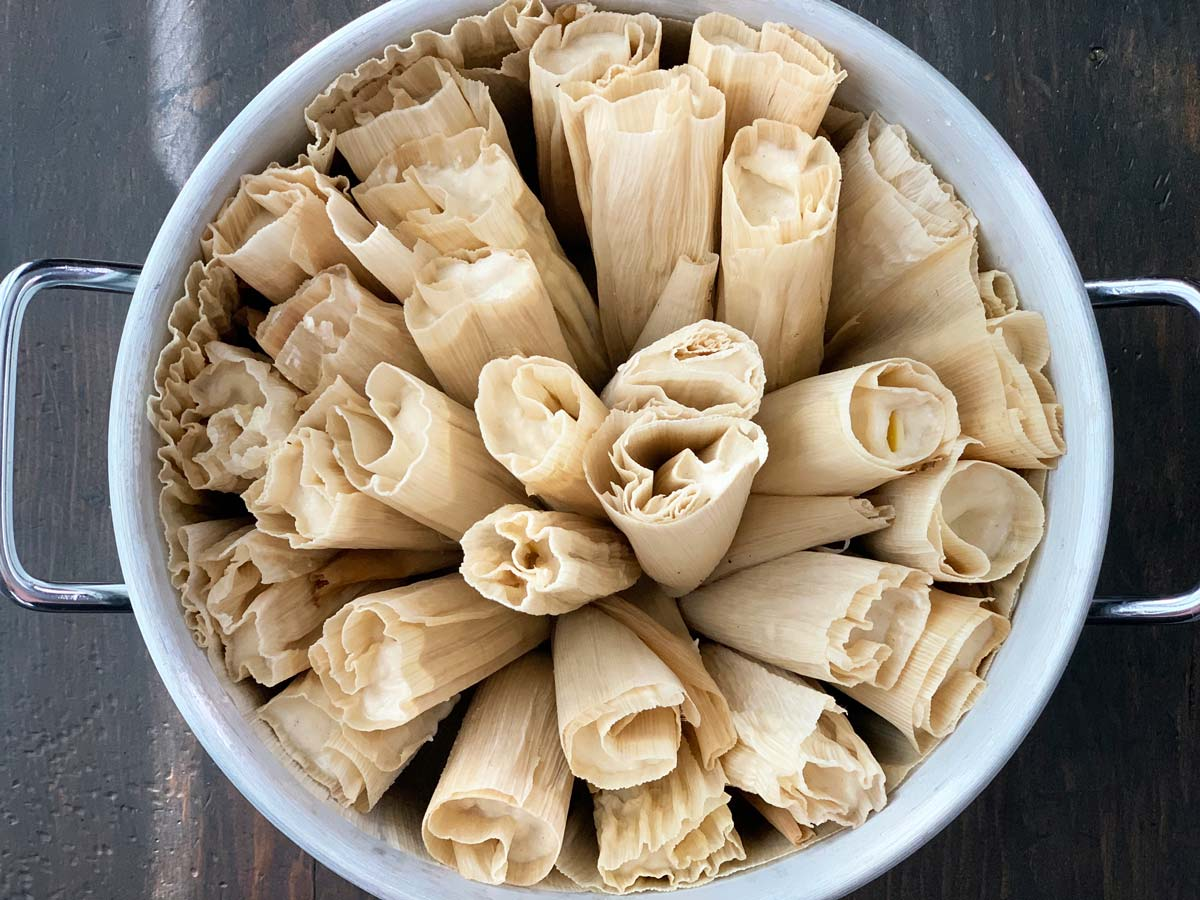 pot filled with tamales