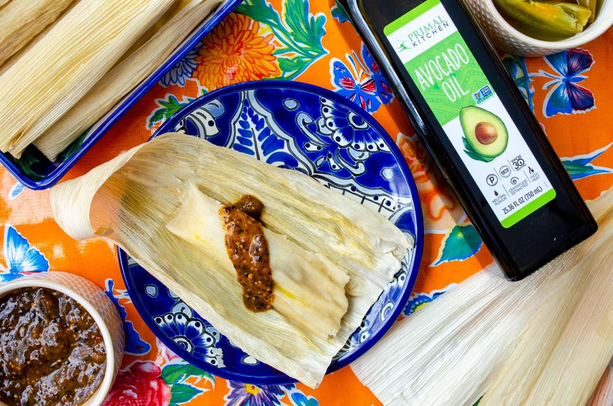 orange tablecloth jalapeño tamales avocado oil