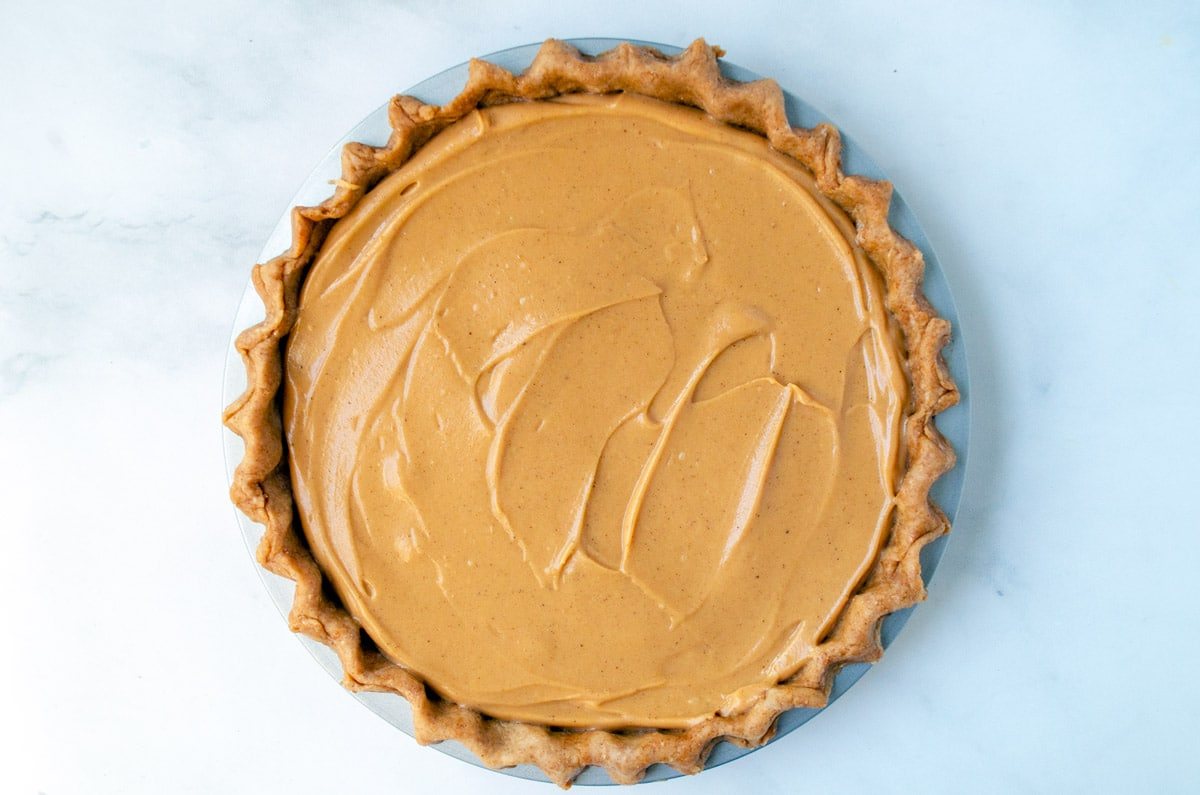healthy sweet potato pie ready to bake