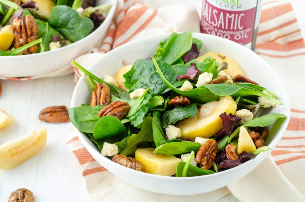bowl of guava salad with pecans and queso fresco