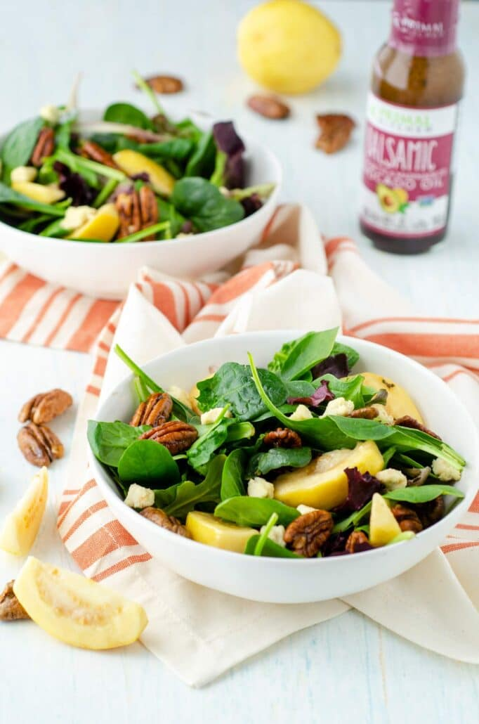 two bowls of guava salad with red and white towel