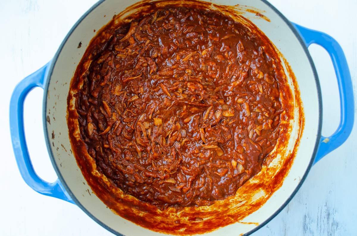 vegan birria in a large pot