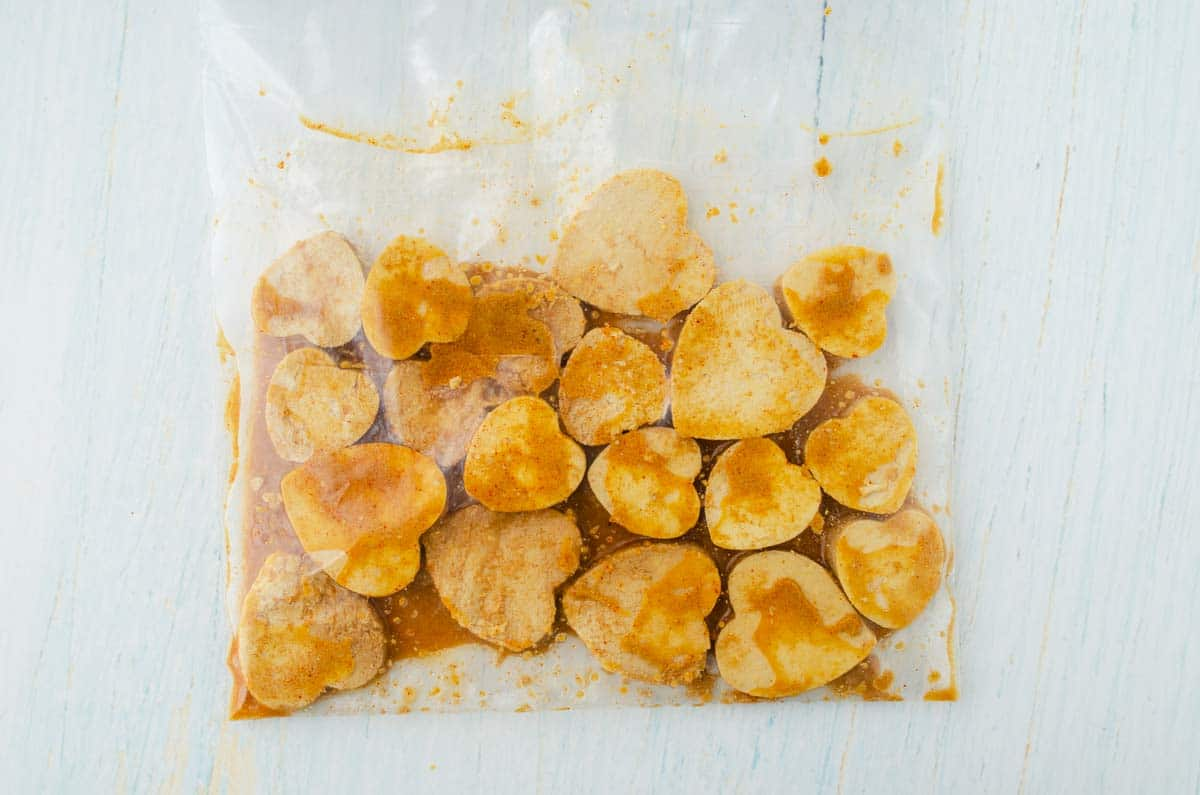 heart tofu marinating in a ziploc bag