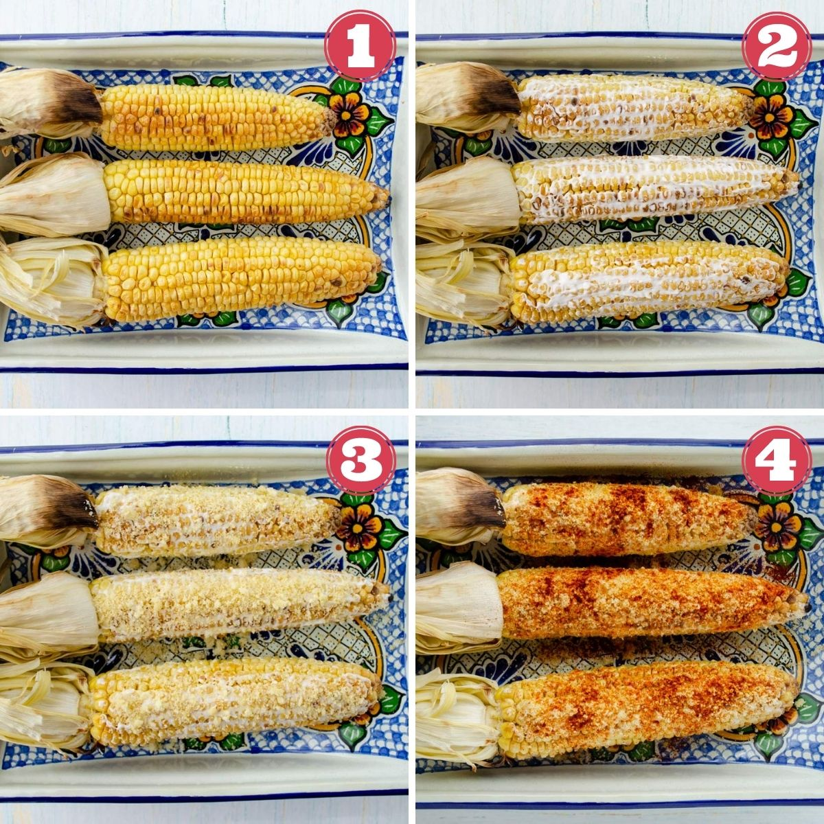 from left to right 3 cobs of corn, 3 cobs of corn with mayo, 3 cobs of corn with queso fresco, three cobs of corn with chile powder