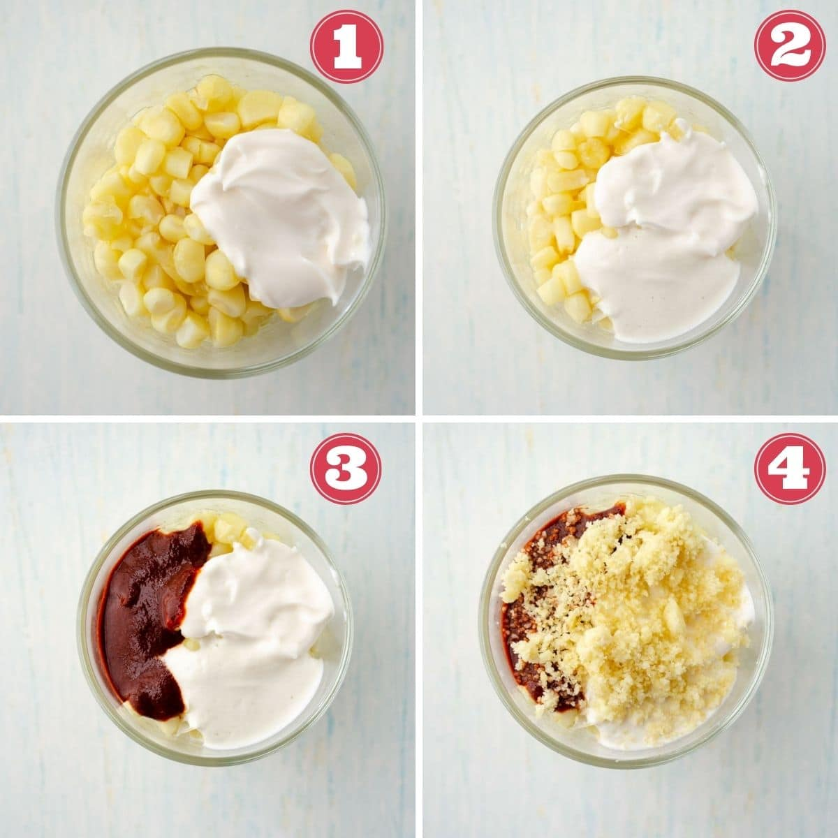 from left to right a cup of corn with mayo, vegan crema added to the cup of corn, chile paste added to cup of corn, vegan queso added to cup of corn