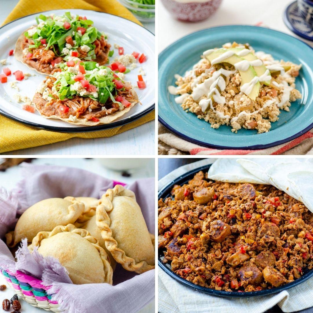 from left to right tostadas de tinga, chiapas tofu scramble, arroz con leche pasties, discada norteña