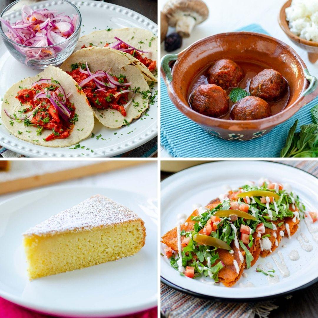 from left to right cochinita pibil, durango style meatballs, sisgua, and enchiladas potosinas.