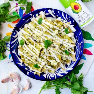 chilaquiles verdes in a bright blue plate surrounded by cilantro, garlic, tomatillo and avocado oil