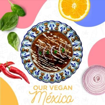 a plate of mole poblano in the center surrounded by vegetables and colorful circles