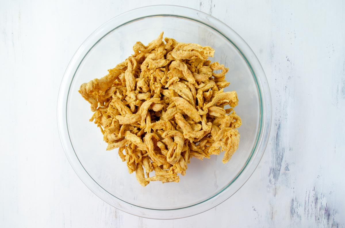 glass bowl with soy curls